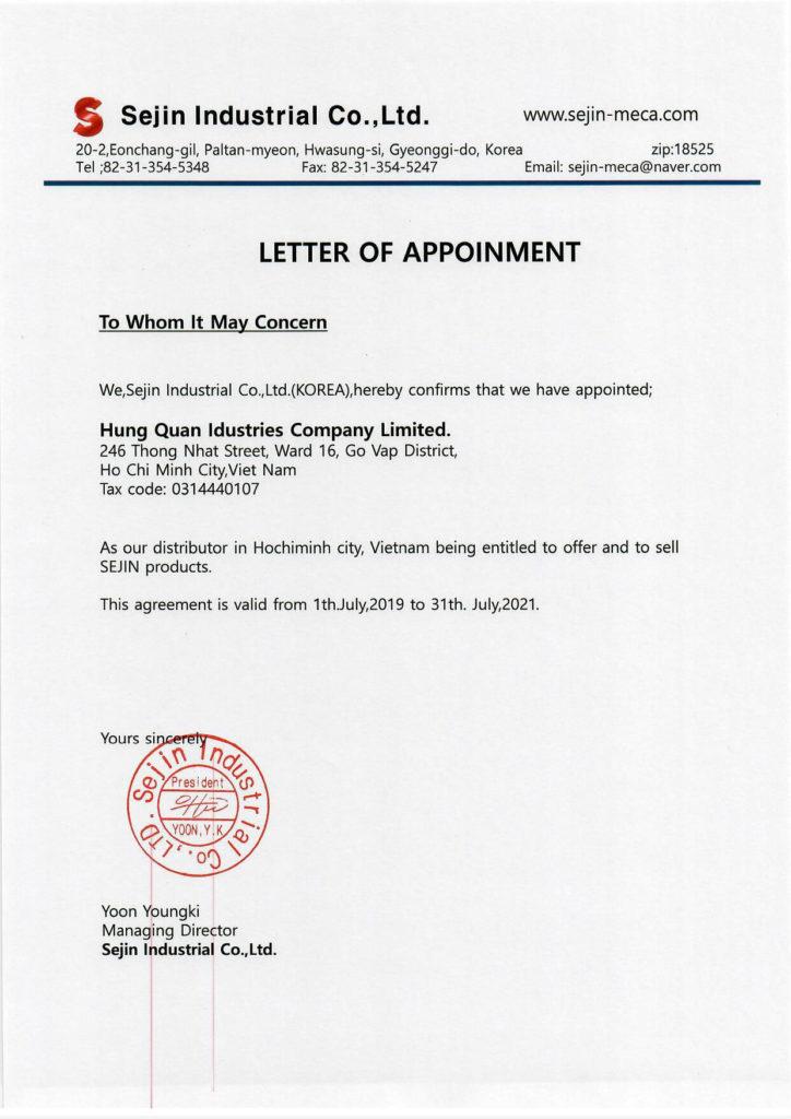 SEJIN Authorized Distributor